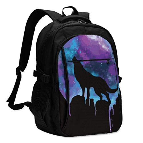 XCNGG Space Howling Travel Laptop Backpack College School Bag Casual Daypack with USB Charging Port