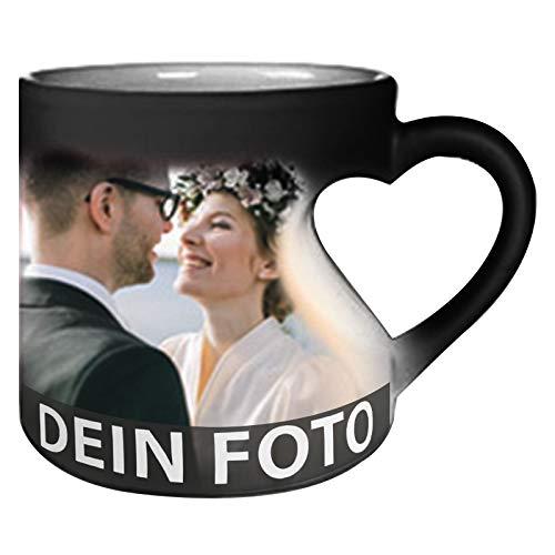 MEGAUK Herz Zaubertasse mit Foto Text Bedrucken Lassen - Farbwechsel Personalisierte Foto Tasse - Kaffeebecher Selbst Individuell Gestalten - Magic Custom Coffee Mug Cup (Schwarz)