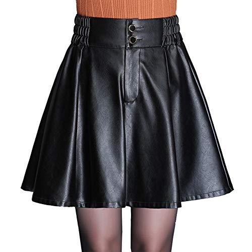 MDXRZ Herbst und Winter Sexy Damenbekleidung PU Lederrock Rock Schlank Faltenrock Elastisch Hohe Taille A Wort Rock,Schwarz,XXL