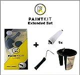 PaintKit Outil Pour Coupe Bordure Peinture - Une Coupe de Peinture Parfaite et Sans Effort en un Rien de Temps avec Pinceau Coupe-Bordure et Rouleau Peinture Bordure + Cadre de Rouleau et Pot Peinture