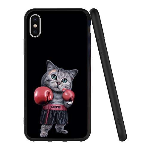 Pnakqil Funda Xiaomi Mi A1 Silicona Ultrafina Negra con Dibujos Diseño Suave TPU Gel Antigolpes de Protector Piel Slim Case Cover Cárcasa Fundas para Movil Xiaomi MiA1, Boxeo de Gato