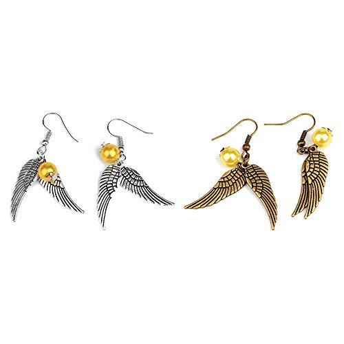 2 Paare Damen Ohrringe, Ohrhänger hängend Ohrstecker, Bezaubernde Goldener Snitch (Schnatz) Ohrringe mit doppelseitigem Flügel, Damen Schmuck, Geschenk für Frauen Mädchen