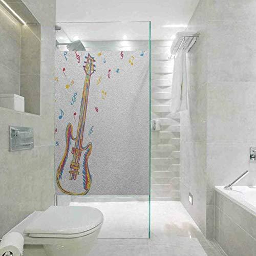 Fensterfolie für Duschraum, Glasaufkleber, Musik-Doodle-Stil, Illustration von Gitarreninstrumenten mit Musik, statisch haftendes Dekor, Fensteraufkleber für Zuhause und Büro, 89,9 x 199,9 cm