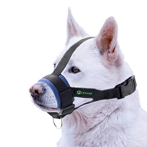 ILEPARK Bozal Suave para Perros Nylon Grandes Pequeños Medianos, Previene Mordidas, Ladridos y Que Mastiquen, Bozal Lazo Ajustable(L,Azul)