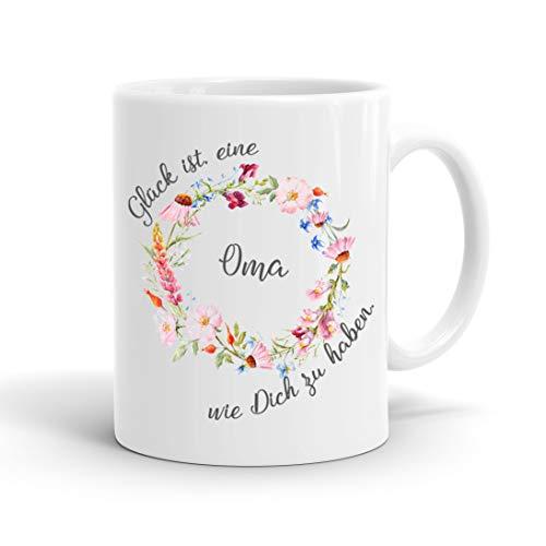 True Statements Oma Tasse Glück ist eine Oma wie dich zu haben - Kaffee-Tasse mit Spruch - Geschenk für Oma/Großmutter, inner white