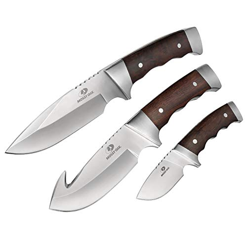 Mossy Oak Fixed Blade Hunting Knife Set - 3 Piece, Full Tang Wood Handle Straight Edge and Gut Hook Blades Game Processing Knife Set, Sheath Included