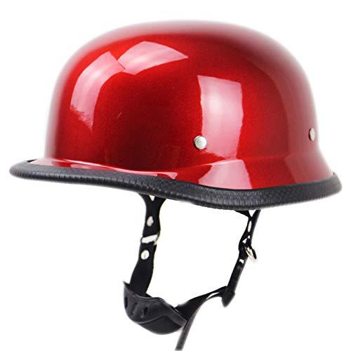 ME&ME Half Helmet, German Motorcycle Helmet with Quick Release Buckle, Lightweight Skull Helmet Cruiser Imitation World War II Military Helmet, DOT Approved,Red,XL