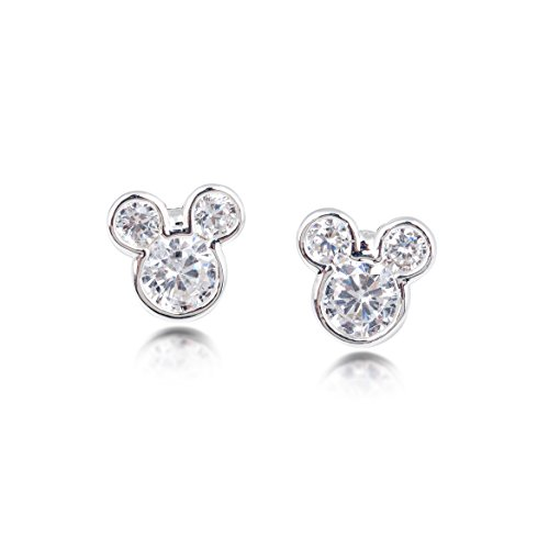 Disney Pendientes chapados en plata Mickey Mouse con cristal