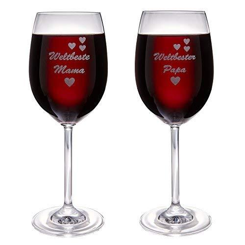 van Hoogen Set Leonardo 1 x Weltbeste Mama und 1 x Weltbester Papa | Weinglas mit Gravur | als Geschenkset für Eltern | 365ml Premiumglas Rotwein Weißwein Eltern