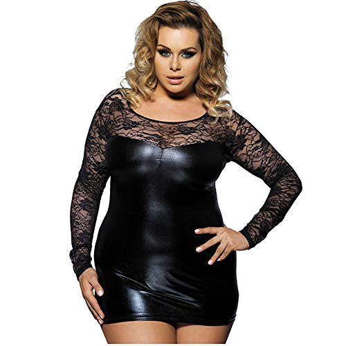 LASERIPLF Damen-Dessous, super weich, sexy, PVC, Minikleid, dekorativ, Wetlook, Babydoll, Spitze, Ausschnitt, Übergröße, für Frauen, schwarz, farbe, XXXXXL