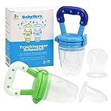 Baby Fruchtsauger Set (2er-Pack) - Schnuller zum befüllen mit Obst für Kinder (Blau)