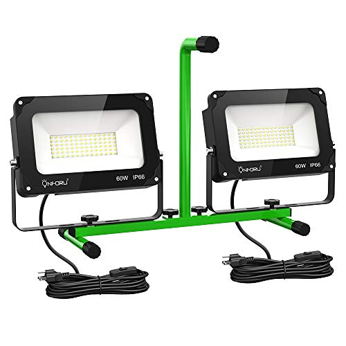 Onforu LED Work Light 120W, 13000lm Portable Worklight with Stand, IP66 Waterproof Utility Light, Dual Head Construction Lighting with Plug, 2 Pack 60W Flood Light for Workshop, Jetty, Garage