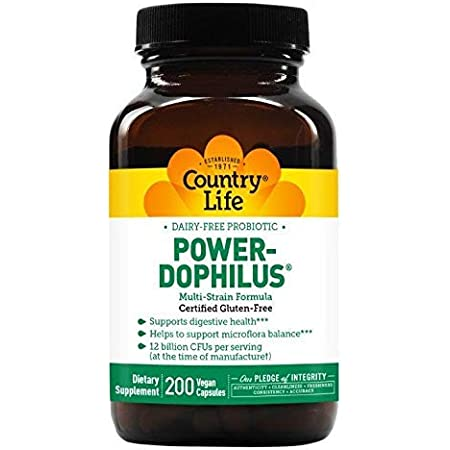 Country Life Dairy-Free Probiotic Power-Dophilus - 200 Vegan Capsules - Supports Digestive Health - 12 Billion CFU