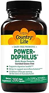 Country Life Dairy-Free Probiotic Power-Dophilus - 200 Vegan Capsules - Supports Digestive Health - 12 Bill...