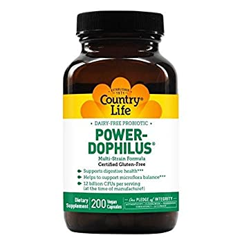 Country Life Dairy-Free Probiotic Power-Dophilus - 200 Vegan Capsules - Supports Digestive Health - 12 Billion CFU