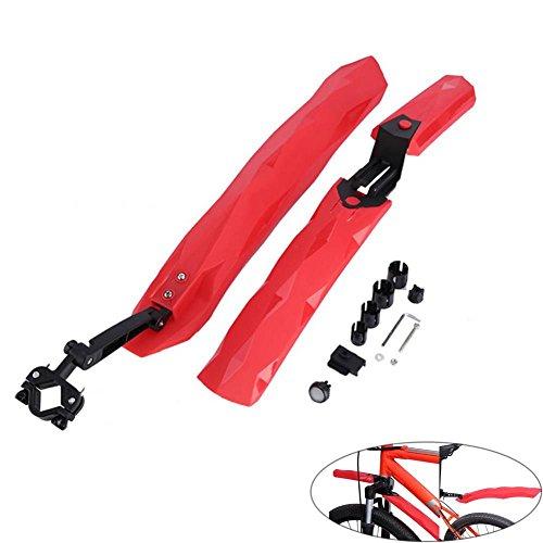 Tbest Fender Bike Spatbord, van zacht rubber, robuust en duurzaam, voor mountainbike, voor en achter, met LED, achterlicht voor mountainbike, regen, fietsen