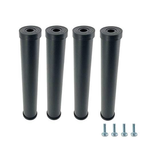 Cortassa – Juego de 4 patas cama para somier agujero individual universal de acero resistente con goma antiarañazos y antideslizante