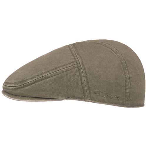 Stetson Paradise Cotton Schirmmütze Oliv-grün Herren - Flatcap mit UV-Schutz 40+ - Herrenmütze aus Baumwolle - Flat Cap Größen L 58-59 cm - Schiebermütze Sommer/Winter