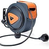 Monzana Enrouleur automatique de câble 20 m boîtier plastique cordon 1,5m pivotable 180° support de fixation mural rallonge électrique bricolage tambour de câble
