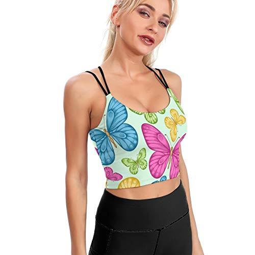 GAHAHA Mujeres acolchado sujetador deportivo azul amarillo rosa mariposas yoga entrenamiento Crop Top Niñas Fitness Tank Tops gimnasio ropa deportiva