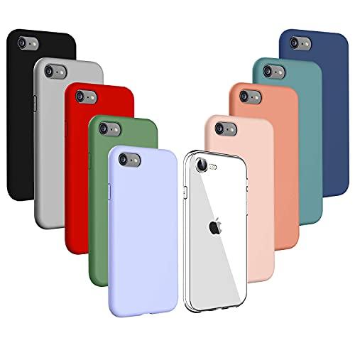 Iuveruln 10X Cover Compatibile con iPhone SE 2020/8/7 4.7 Pollici, Custodia in TPU Tinta Unita Silicone Morbido, Cover Ultra Sottile AntiGraffio e Antiurto- Trasparente+9 Colori