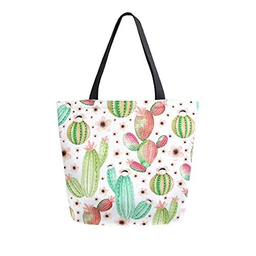AHYLCL Flower Plants Cactus Pattern Tote Bag Canvas Shoulder Bag Reusable Large Multipurpose Use Handbag for Work School Shopping Outdoor