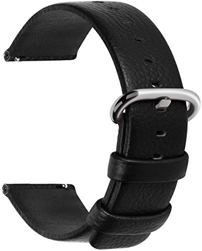 Fullmosa 8 Farben Armbänder Kompatible mit Galaxy Watch Active Armband/Active2/Watch 3 41mm, 20mm Schnellverschluss Lederarmband Uhrenarmband für Damen Herren, 20mm Schwarz