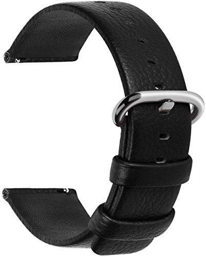 Fullmosa 12 Farben für Uhrenarmband, Kalbsleder Armband für Damen Heren Lederarmband mit Edelstahl Metall Schließe, 18mm,Schwarz