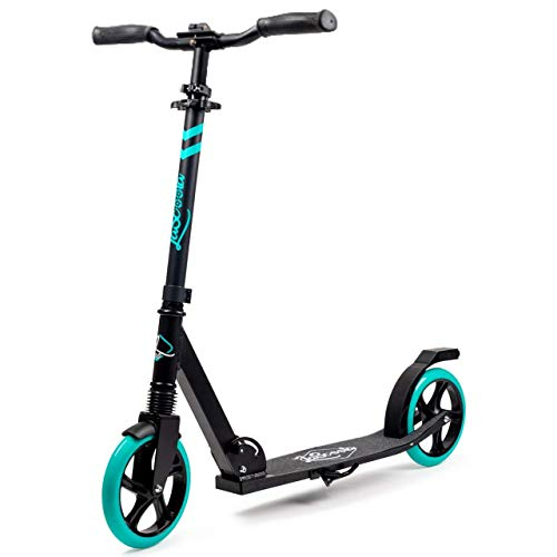 "Lascoota Scooters for Kids 8 Years and up - Quick-Release Folding System - Front Suspension System + Scooter Shoulder Strap 7.9"" Big Wheels Great Scooters for Adults and Teens (Aqua, Kids/Adults)"