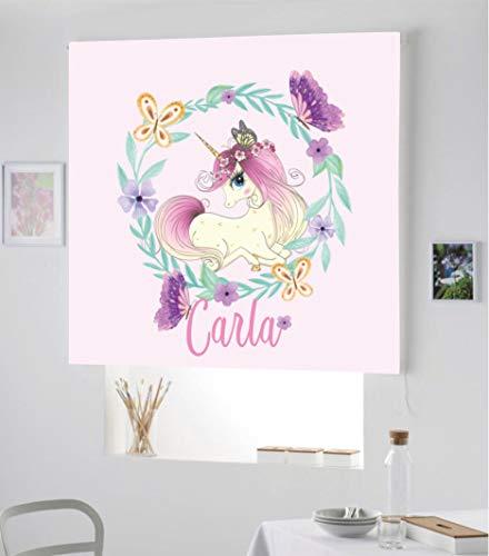 Estor Infantil Enrollable TRANSLUCIDO Digital Unicornio Carla para Poner TU Nombre¡¡Nuevo Estor Enrollable Infantil con Nombre A Todo Color DE Unicornio (Rosa Claro, 130X170)