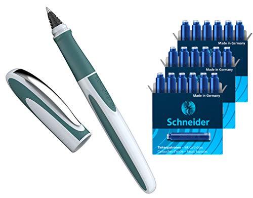 Schneider Ray Tintenroller (Nachfüllbar mit Standard Tintenpatronen, geeignet für Rechts- und Linkshänder) (1 Stück + 18 Patronen extra)