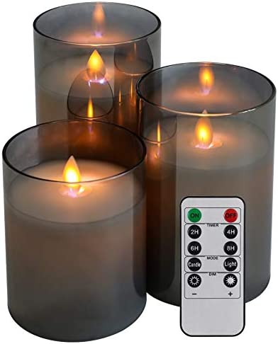 Led Flameless Candles Flickering with Remote Control and Timer 4in 5in 6in Set of 3 Battery product image