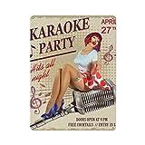 Cartel vintage de karaoke sexy pinup cartel de cartel de pared de hojalata pared de metal de hierro decoración de pared de aluminio placa decoración Cafe Bar 30x40cm