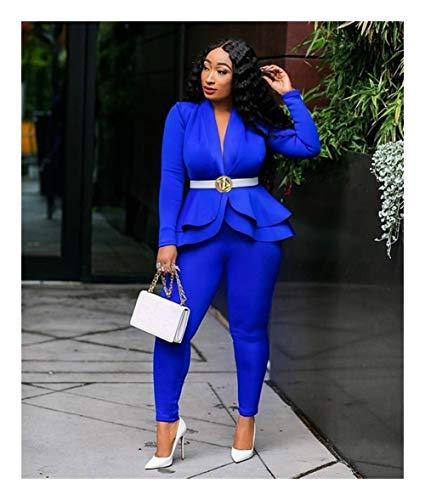 ASVNDD Frauen-Winter-Frauen-Set Anzug Voll Sleeve Raff-Bleistift-Hosen-Anzug Zweiteiler Büro-Dame Outfits Uniform (Color : Blue, Size : Medium)