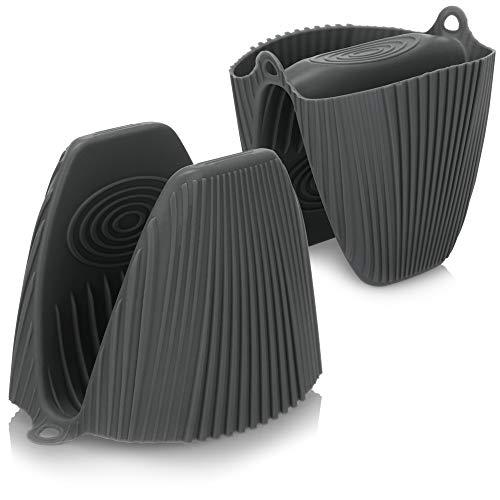 COM-FOUR 2x Guante de silicona para horno: guante antideslizante de protección contra el calor, guante impermeable para horno (2 piezas - gris oscuro)