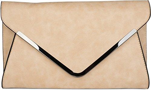 styleBREAKER Bolso de Mano Clutch, Bolso de Fiesta en diseño de sobre con Bandolera y Pasador para Llevar, señora 02012047, Color:Beige