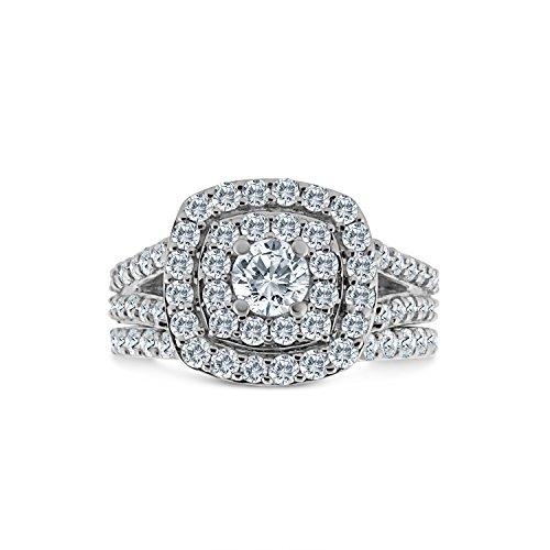 2.00ct Cushion Halo Diamond Engagement Wedding Ring Set 10K White Gold (H-I, I2-I3)