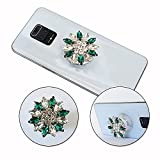 PH26 - Soporte de teléfono móvil plegable para BQ-Mobile BQ-6042L Magic E Super Design Diamante, mango universal de teléfono – Diamante verde y blanco