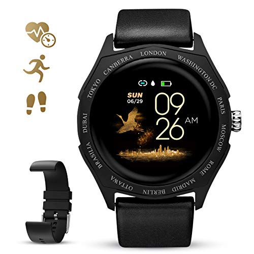 GOKOO Smartwatch Mujeres Hombres Reloj Deportivo Impermeable Bluetooth Reloj Inteligente Monitor de Ritmo cardíaco Podómetro Calorías Rastreador de Actividad física (Negro)