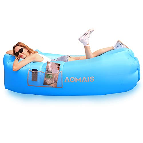 Inflatable Lounger Air Sofa Portable Waterproof Anti-Air Leaking Inflatable Pouch Couch with Pillow and Carrying Bag for Outdoor Camping, Picnics, Pool Beach Parties