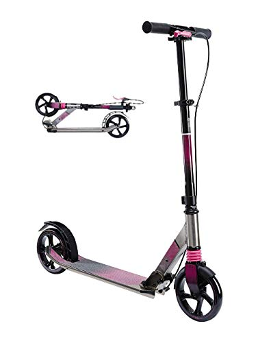 Uooeg-F City Kick Scooter para Adultos y Adolescentes 2 Big Wheel Lightweight Frame Freestyle Scooters Freestyle (Rosa)