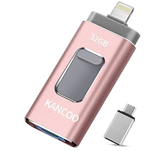 Chiavetta USB 3.0 32GB 4 in 1 Memoria USB Flash Drive per iPhone iPad e PC Laptop, Pen Drive per Dispositivi con Apple/iOS/Android/USB C/Micro USB/Tipo C Porta - Rosa