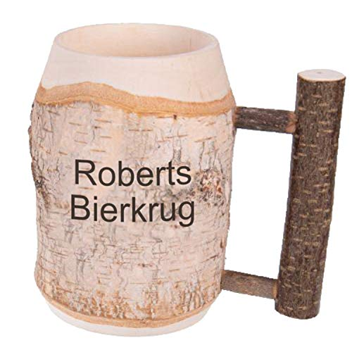 Holz-Bierkrug mit Gravur Namen und Astgriff 0,5l, Handgefertigtes Unikat Dekoration Personalisierter Holzkrug mit Gravur Ausgefallenes Ostergeschenk für Männer