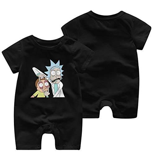 Rick Morty Logo GILR Boys Kid Baby Romper Short Sleeve Bodysuit Jumpsuit(0-3M,Black)