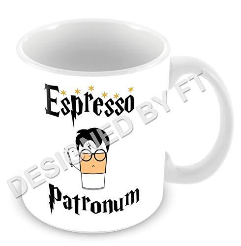 FT, Espresso Patronum, tazza ispirata a Harry Potter, 325 ml, in ceramica bianca