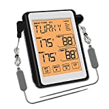 Wen Hong Digital Barbacoa Termómetro Cocina Horno Alimentos Cocina Parrilla Termómetro de Carne con una sonda Dual Alarma de Temperatura (Color : As Shown)