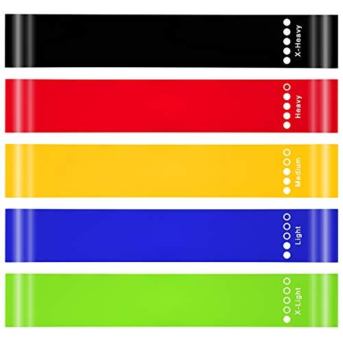 Coroid Silicone Resistance Loop Bands for Men&Women, Exercise Bands for Legs and Butt, Set of 5 Workout Bands for Yoga, Home Fitness, Strength Training, Physical Therapy
