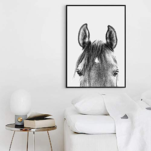 MMLUCK Decorative Paintings Black and White Peekaboo Horse Canvas Painting Wall Art Pictures, Modern Animal Horse Head Photo Prints Home Room Art Decor-60x80cm