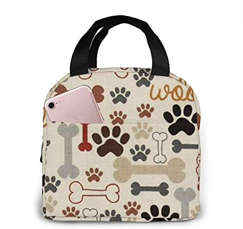 Dog Bones Paw Prints Large Lunch Bag Insulated Lunch Bag Soft Cooler Cooling Tote