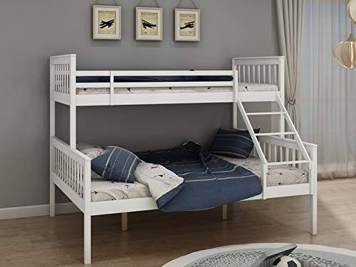 BLUE HORIZON Triple Bed Bunk Bed Frame Solid Pine Wooden Sleeper Bed for Children Adults White